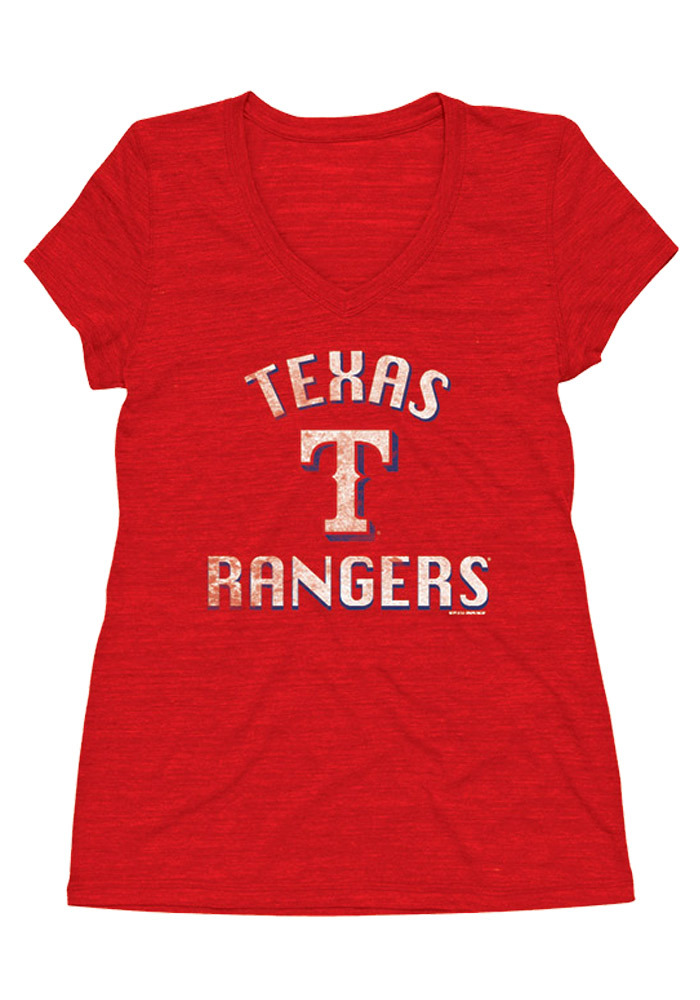 Texas Rangers Womens Red Arch Shadow Short Sleeve Plus Tee