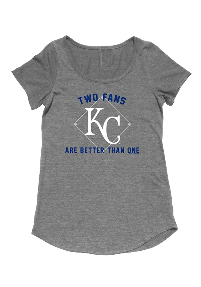 Kansas City Royals Womens Grey Two Fans Are Better Short Sleeve Maternity Tee