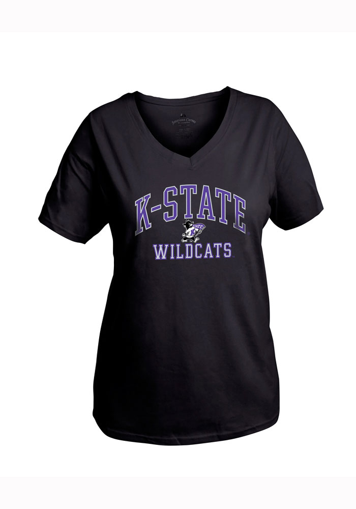 K-state Wildcats Womens Black Womens Curves V-neck Short Sleeve Plus Tee