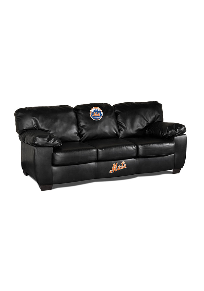 New York Mets Blk Leather Classic Sofa Sofa