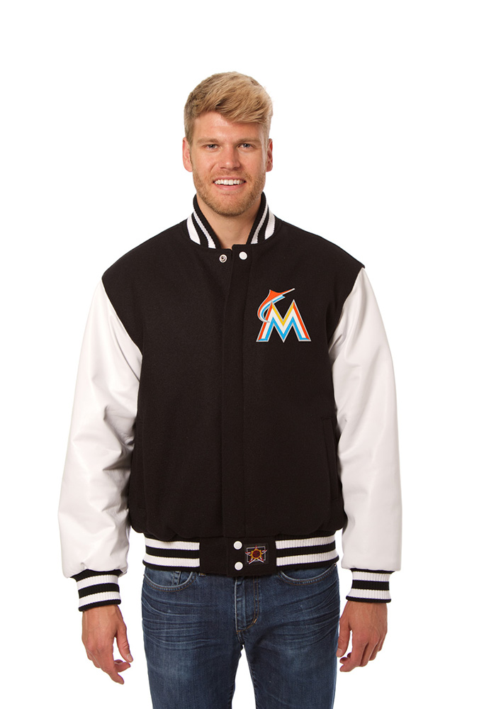 Miami Marlins Mens Black Wool Body, Leather Sleeve Jacket Heavyweight Jacket