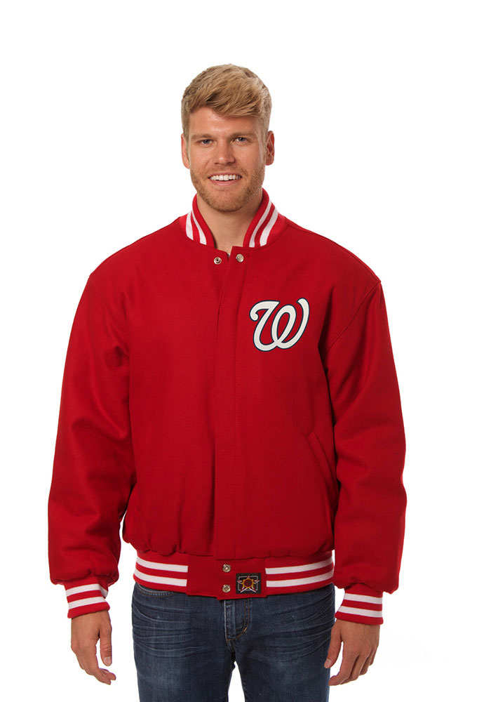 Washington Nationals Mens Red All Wool Jacket Heavyweight Jacket
