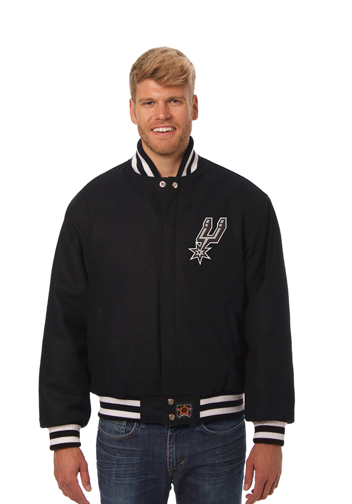 San Antonio Spurs Mens Black All Wool Jacket Heavyweight Jacket
