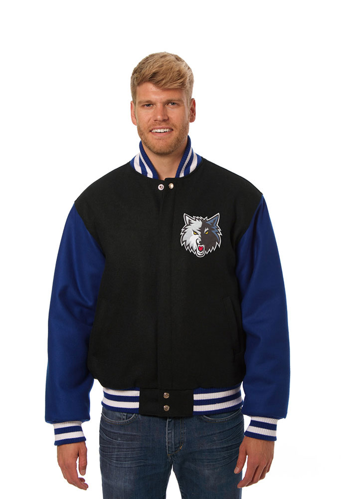 Minnesota Timberwolves Mens Black All Wool Jacket Heavyweight Jacket