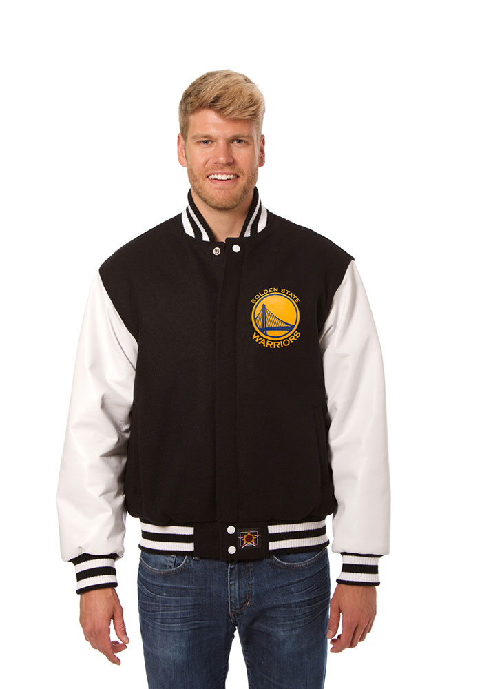 Golden State Warriors Mens Black Wool Body, Leather Sleeve Jacket Heavyweight Jacket