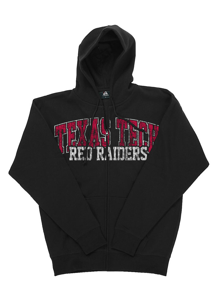 Texas Tech Red Raiders Mens Black Logo Back Long Sleeve Full Zip Jacket