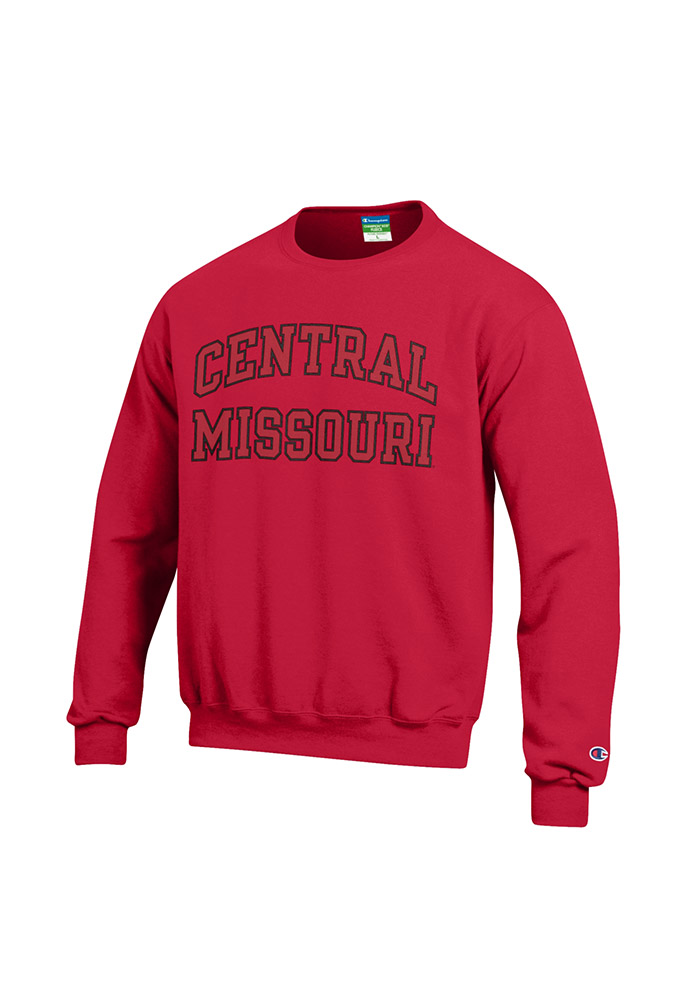 Central Missouri Mules Mens Red Arch Long Sleeve Crew Sweatshirt