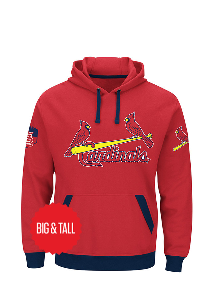 St Louis Cardinals Mens Red Team Color Big And Tall Hooded Sweatshirt