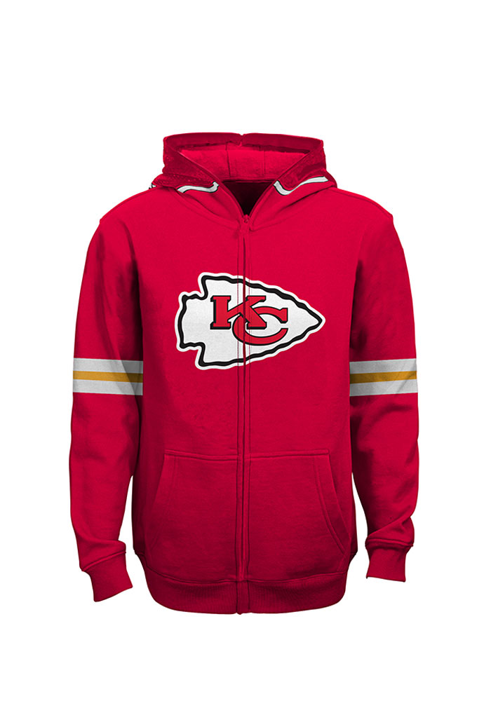 Kansas City Chiefs Mens Red Youth Helmet Hooded Long Sleeve Full Zip Jacket