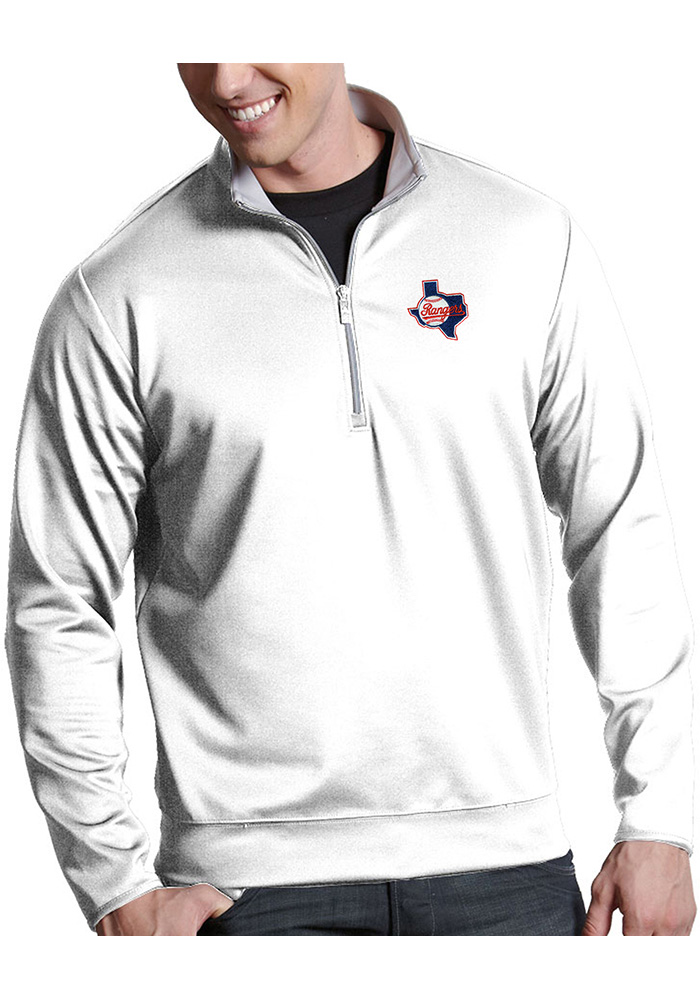 Antigua Texas Rangers White Leader 1/4 Zip Pullover