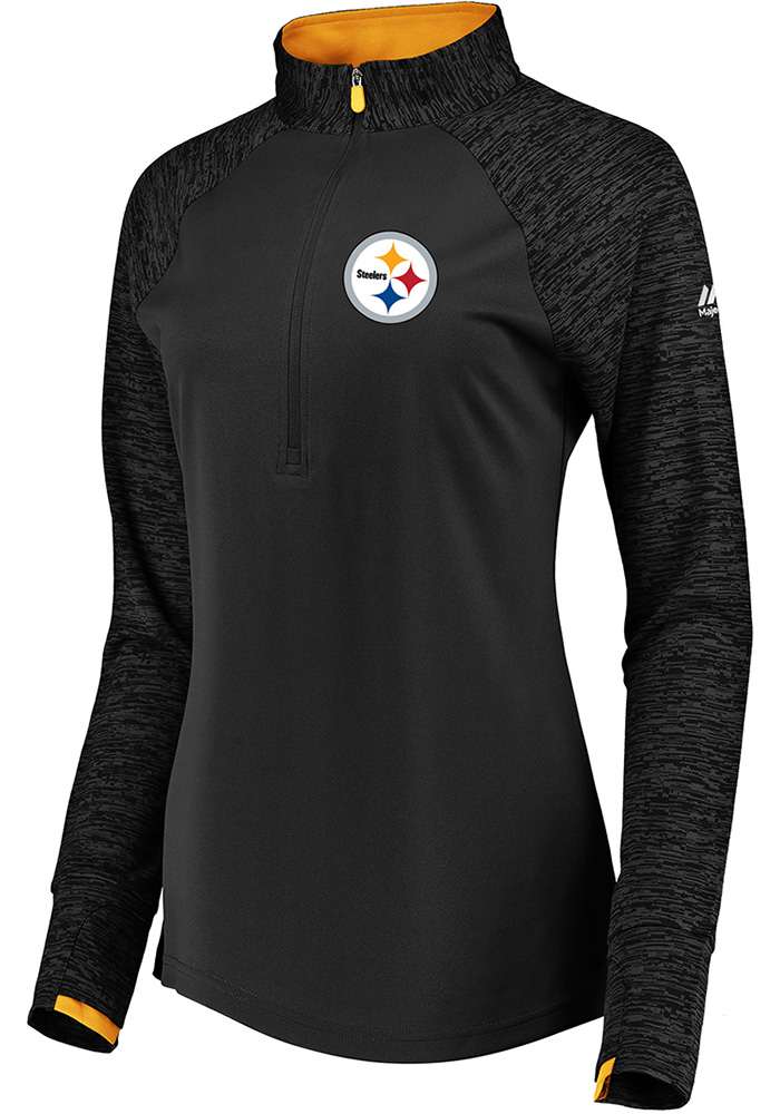 Pittsburgh Steelers Womens Ultra Streak Black 1/4 Zip Pullover