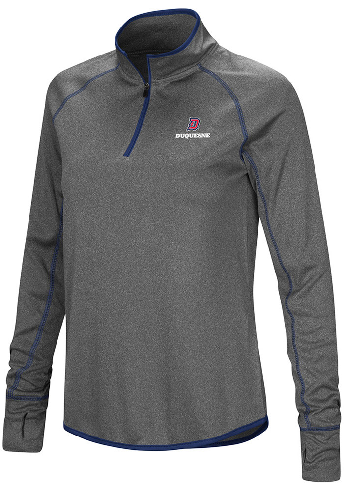 Colosseum Duquesne Dukes Womens Shark Grey 1/4 Zip Pullover