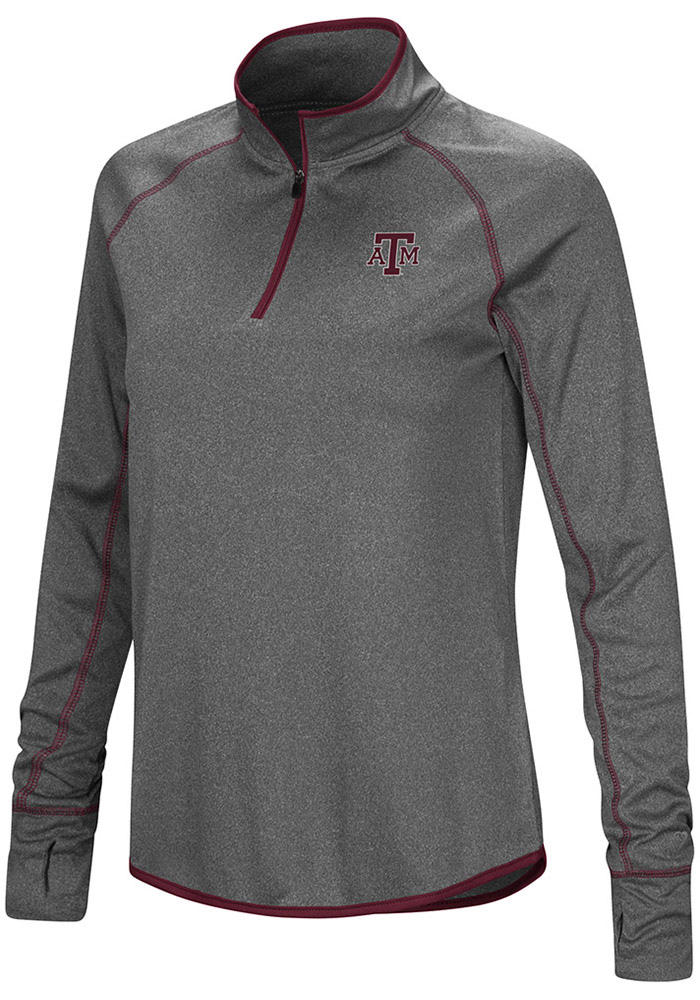 Colosseum Texas A&M Aggies Womens Shark Grey 1/4 Zip Pullover