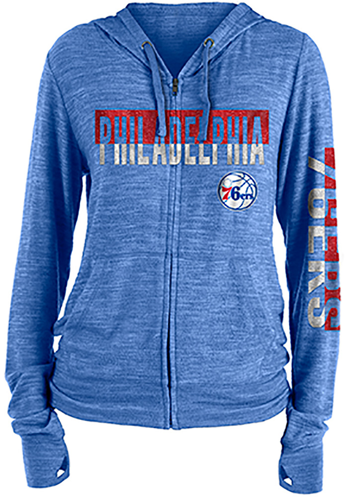 Philadelphia 76ers Womens Blue Novelty Sweater Knit Full Zip Jacket