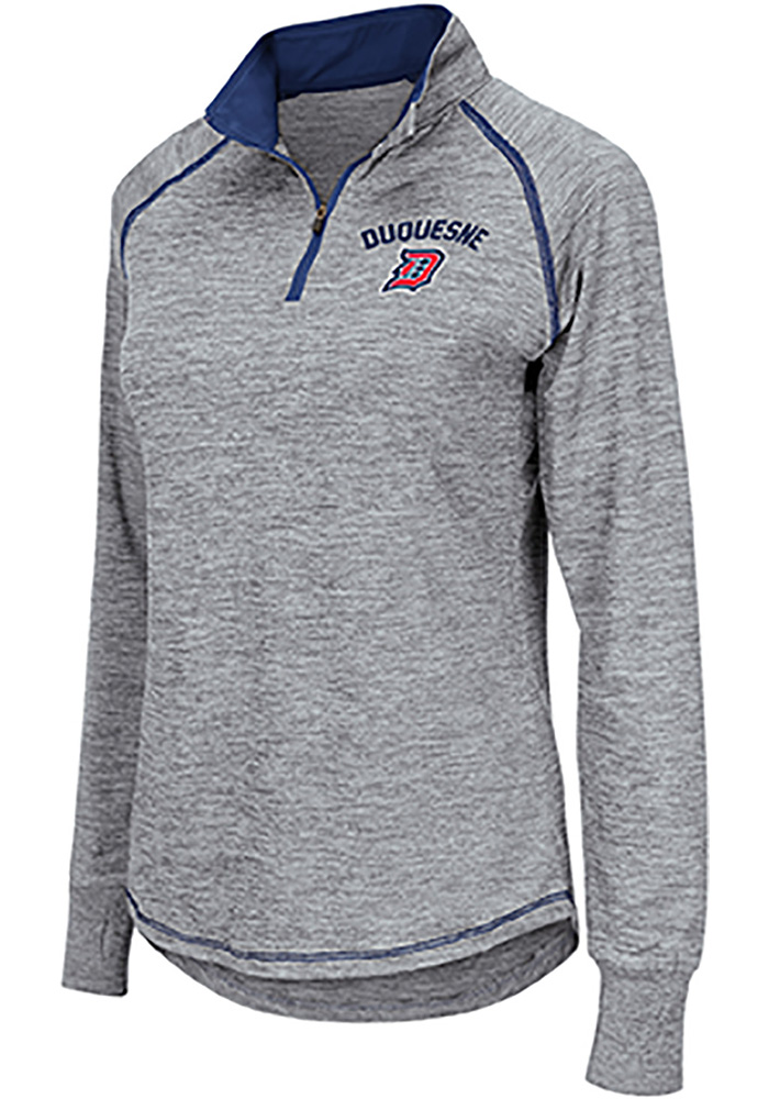Colosseum Duquesne Dukes Womens Athena Grey 1/4 Zip Pullover