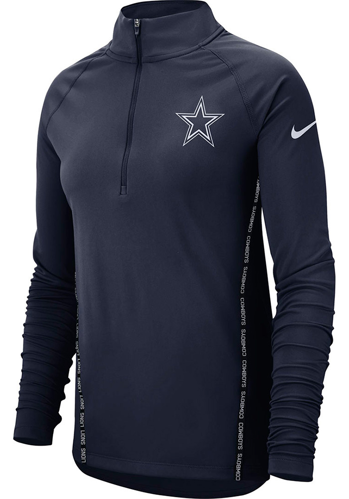 Nike Dallas Cowboys Womens Core Navy Blue 1/4 Zip Pullover