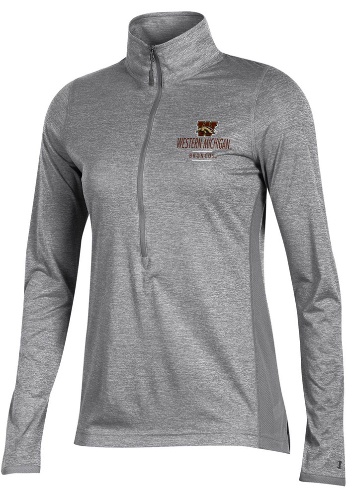 Champion Western Michigan Broncos Womens Marathon Grey 1/4 Zip Pullover