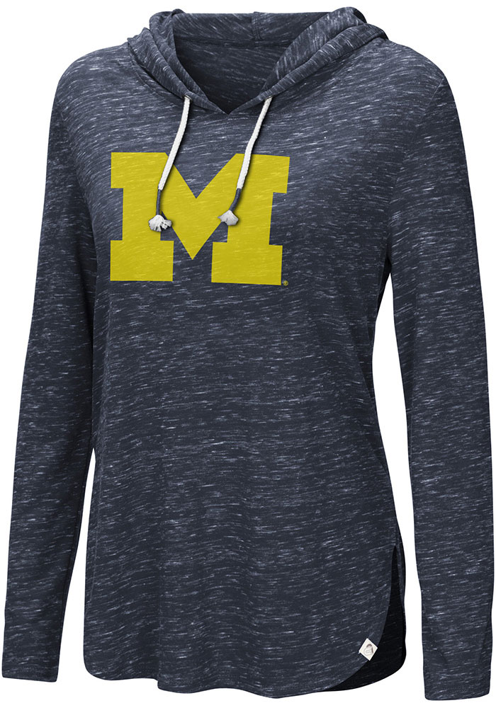 Colosseum Michigan Wolverines Womens Navy Blue Swizzle Side Slit Hoodie