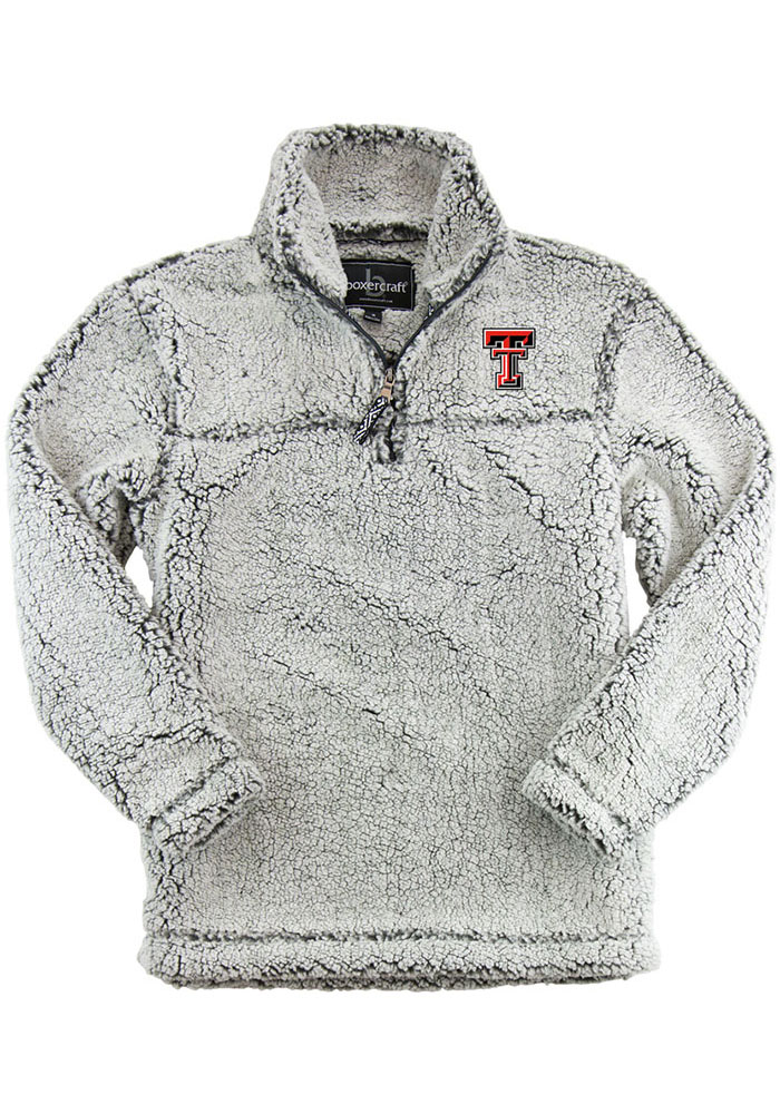 c32a3eabda03 Texas Tech Red Raiders Womens Sherpa Grey 1 4 Zip Pullover