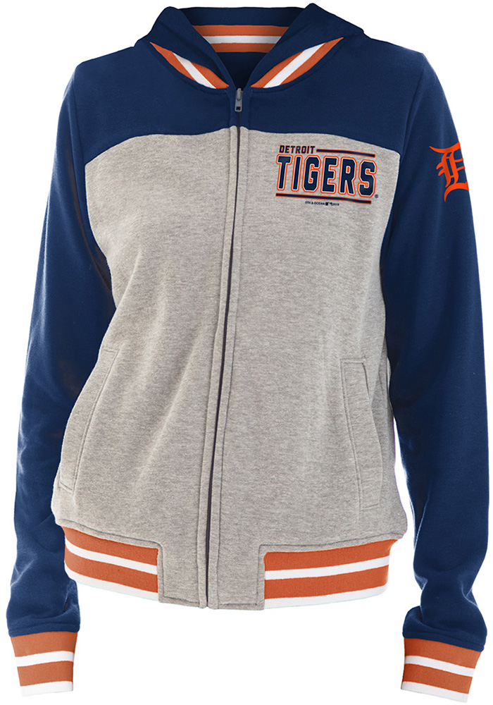 Detroit Tigers Womens Grey Opening Night French Terry Full Zip Jacket
