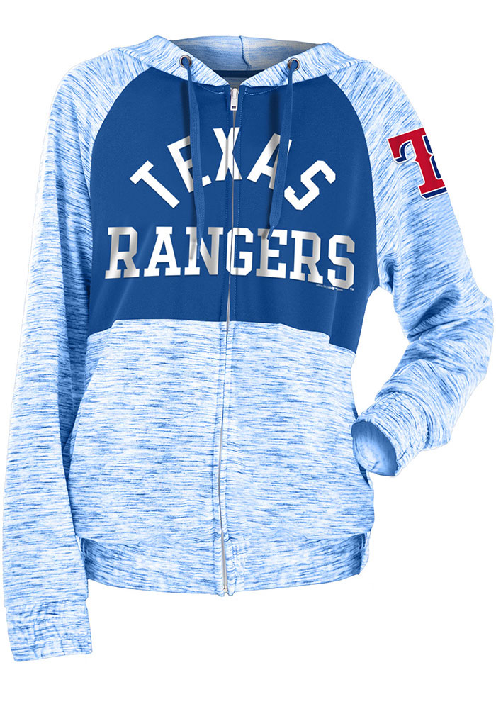 Texas Rangers Womens Blue Novelty Space Dye Contrast Full Zip Jacket