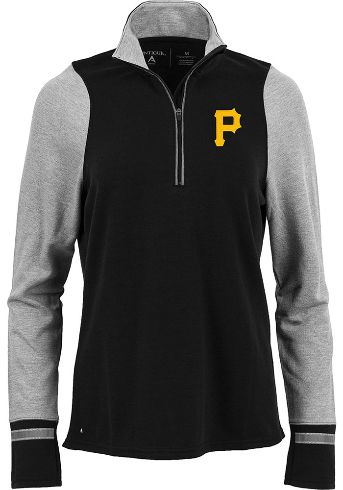 Antigua Pittsburgh Pirates Womens Pitch Pullover Black 1/4 Zip Pullover
