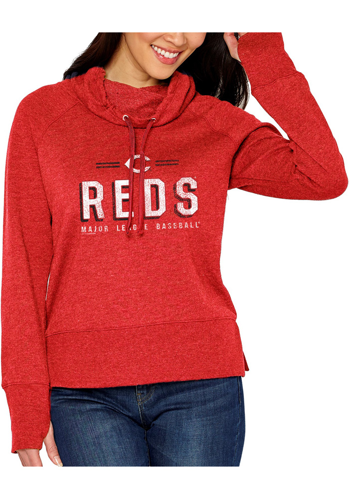 Cincinnati Reds Womens French Terry Funnel Red Crew Sweatshirt