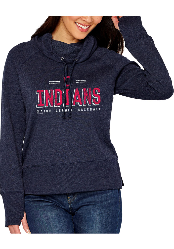 Cleveland Indians Womens French Terry Funnel Navy Blue Crew Sweatshirt