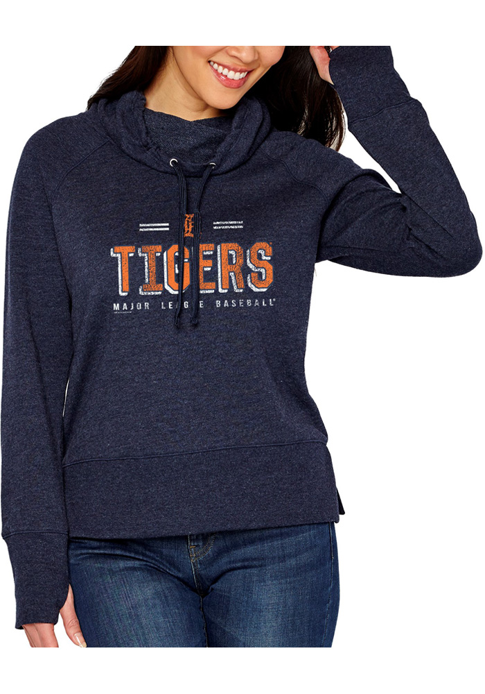 Detroit Tigers Womens French Terry Funnel Navy Blue Crew Sweatshirt