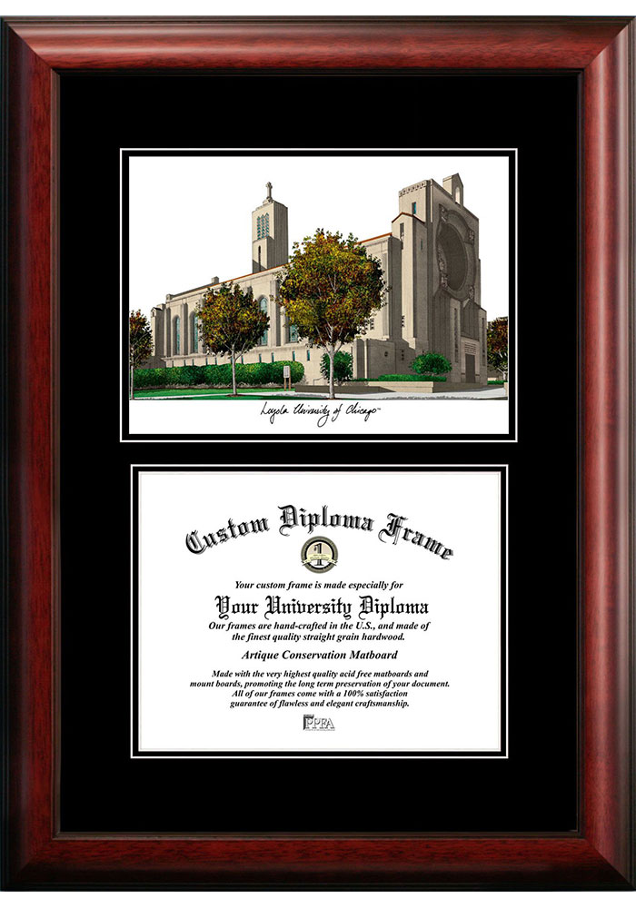 Loyola Ramblers Diplomate and Campus Lithograph Picture