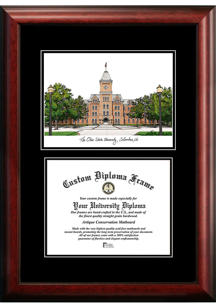 Ohio State Buckeyes Diplomate and Campus Lithograph